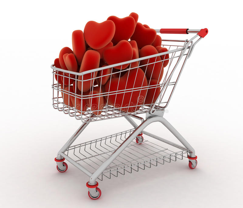 Supermarket trolley full of red hearts royalty free illustration