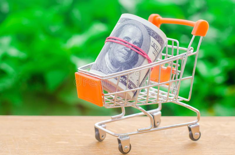 Supermarket trolley on a green background. The concept of shopping online. Place market, commerce, Internet commerce. Ordering. Goods and services through the royalty free stock image