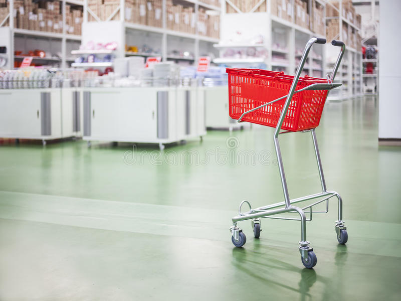 Supermarket Trolley Shopping Cart Retail Business concept. Supermarket Trolley Shopping Cart Consumer Retail Warehouse Business concept stock photo