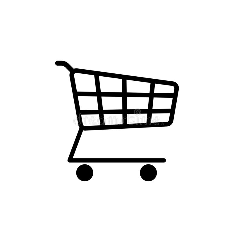 Supermarket trolley simple icon isolated on white stock illustration