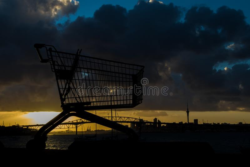 Auckland Trolley. Supermarket Trolley by the waterfront of Auckland Harbour royalty free stock images