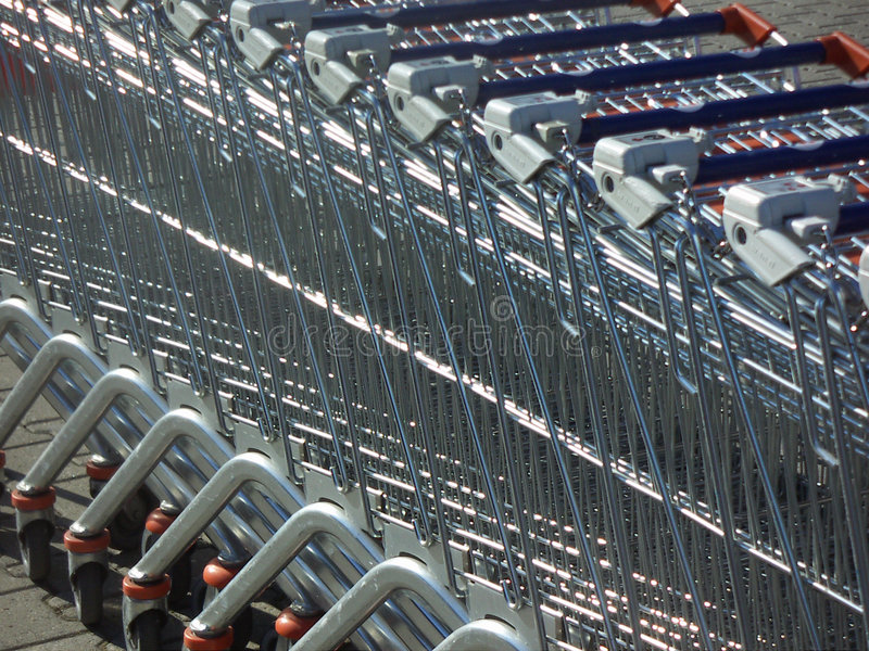 Download Supermarket trolleys stock image. Image of grocery, consumer - 508315
