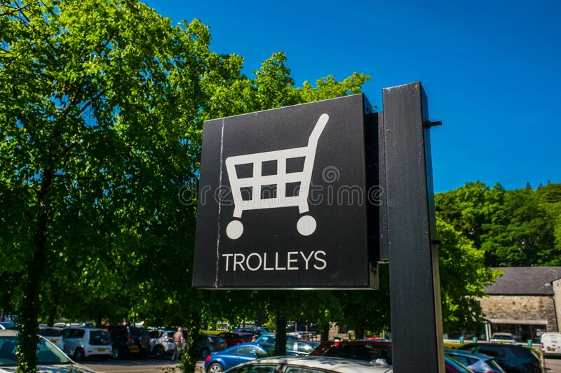 Supermarket trolleys situated in main carpark Kendal stock photography