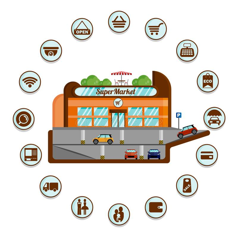 Supermarket z podziemnym parking infographics royalty ilustracja