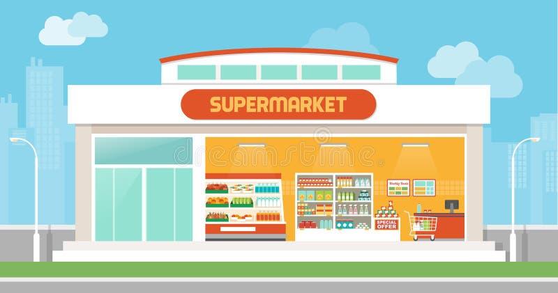 Supermarketa budynek ilustracja wektor