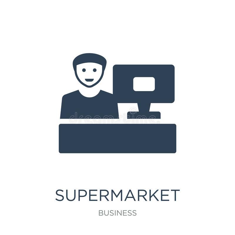 supermarketa kasjera ikona w modnym projekta stylu supermarketa kasjera ikona odizolowywająca na białym tle supermarketa kasjera  ilustracja wektor