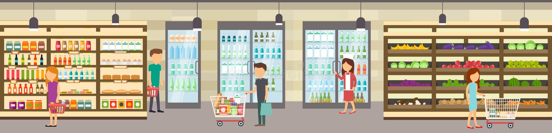 Supermarketa sklep z towarami Duży centrum handlowe ilustracja wektor