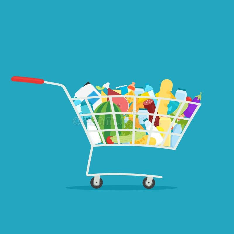 Supermarketa wózek na zakupy pełno jedzenie ilustracja wektor