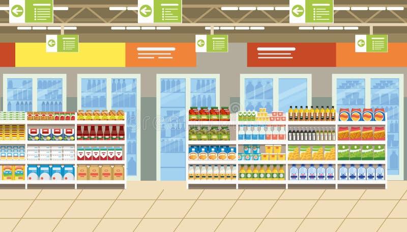 Supermarketa wnętrze z jedzeniem na półkach Wektorowych ilustracja wektor