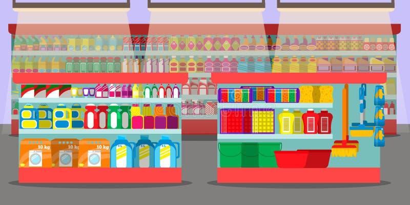 Supermarketa wnętrze z różnymi sekcjami ilustracji