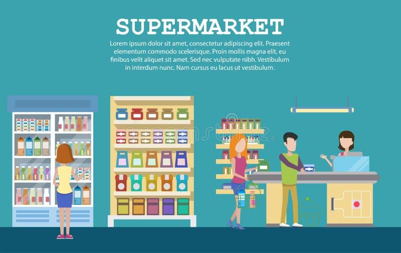 Supermarketa wnętrze z sklepem spożywczym, mleko paczki royalty ilustracja