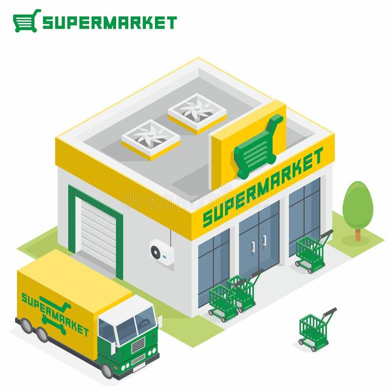 Supermarketbyggnad stock illustrationer