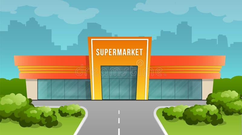 Supermarketbyggnad på bakgrunden av staden royaltyfri illustrationer