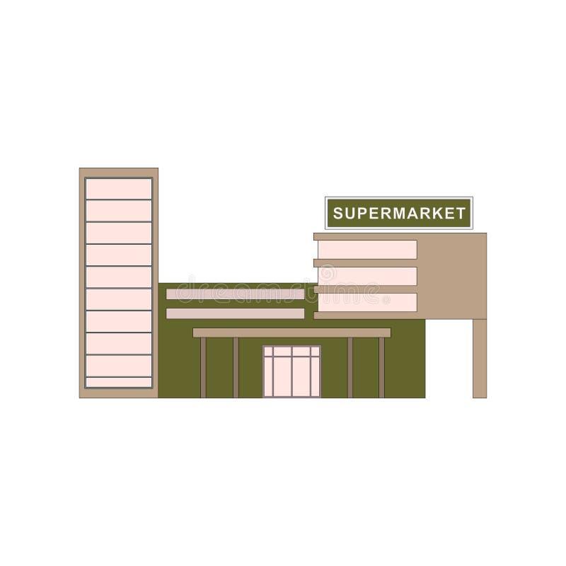 Supermarketbyggnad, var köpa produkter För lek ui, app vektor royaltyfri illustrationer
