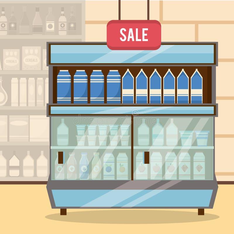 Supermarketförsäljningsställning royaltyfri illustrationer