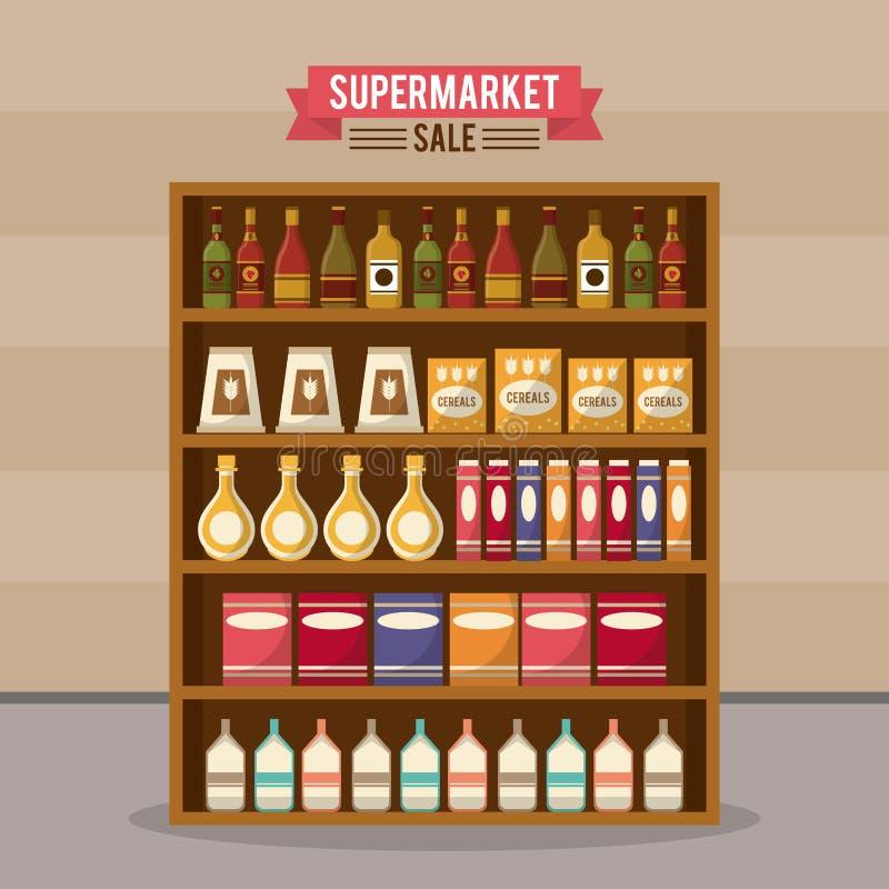 Supermarketförsäljningsställning vektor illustrationer