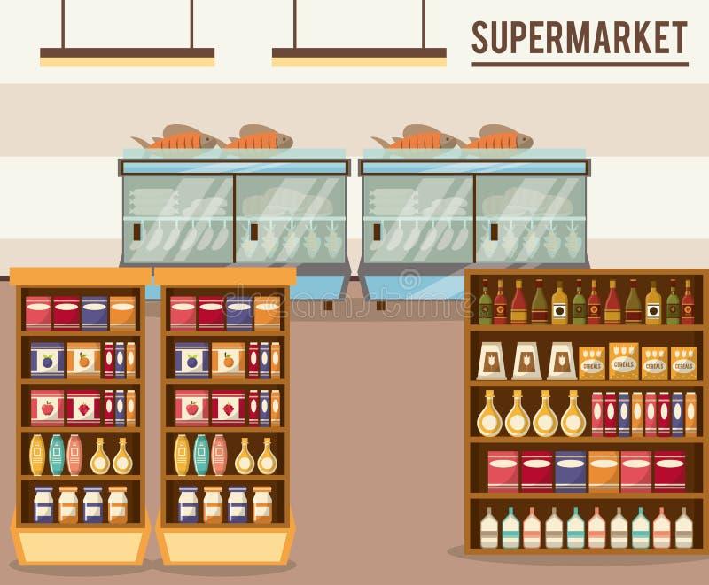 Supermarketförsäljningsställning stock illustrationer