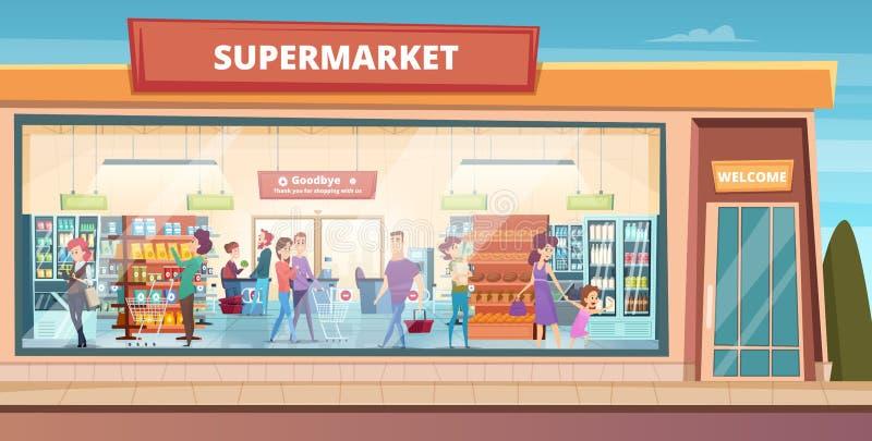 Supermarketfasad Folk som shoppar i lager för mat för produktstormarknadlivsmedelsbutik med den manliga och kvinnliga köparevekto stock illustrationer