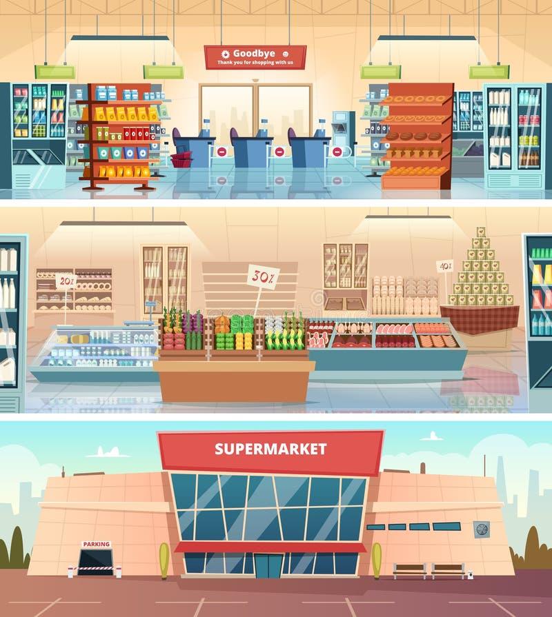 Supermarketfasad Inre galleria för livsmedelsbutikmatmarknad inom illustrationer för kassörskavektortecknad film vektor illustrationer