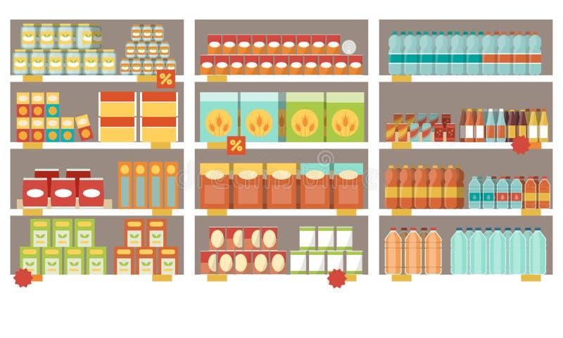 Supermarkethyllor royaltyfri illustrationer