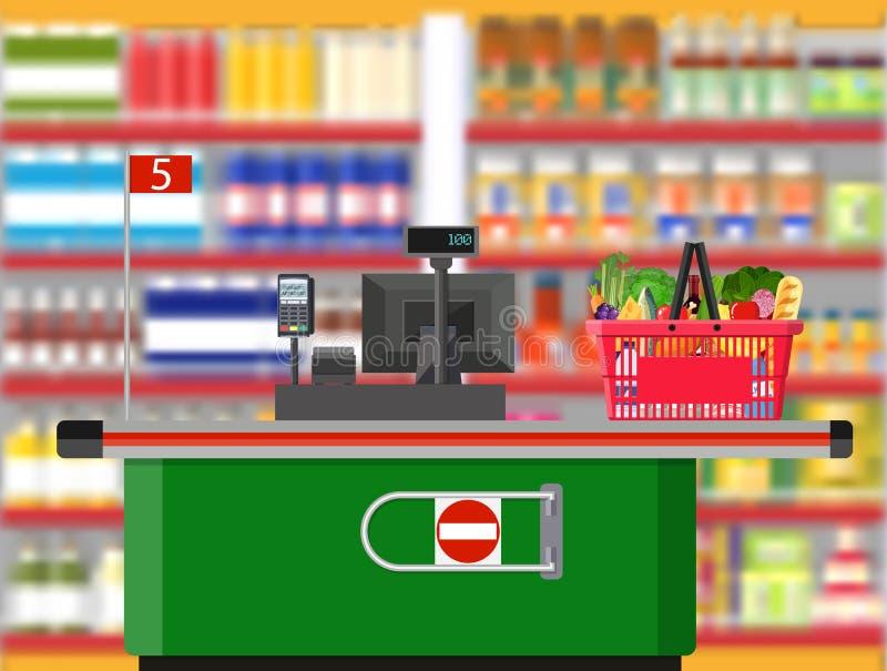 Supermarketinre Kassörskaräknarearbetsplats stock illustrationer