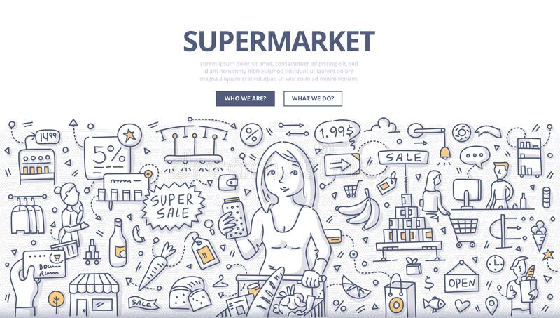 Supermarketklotterbegrepp vektor illustrationer