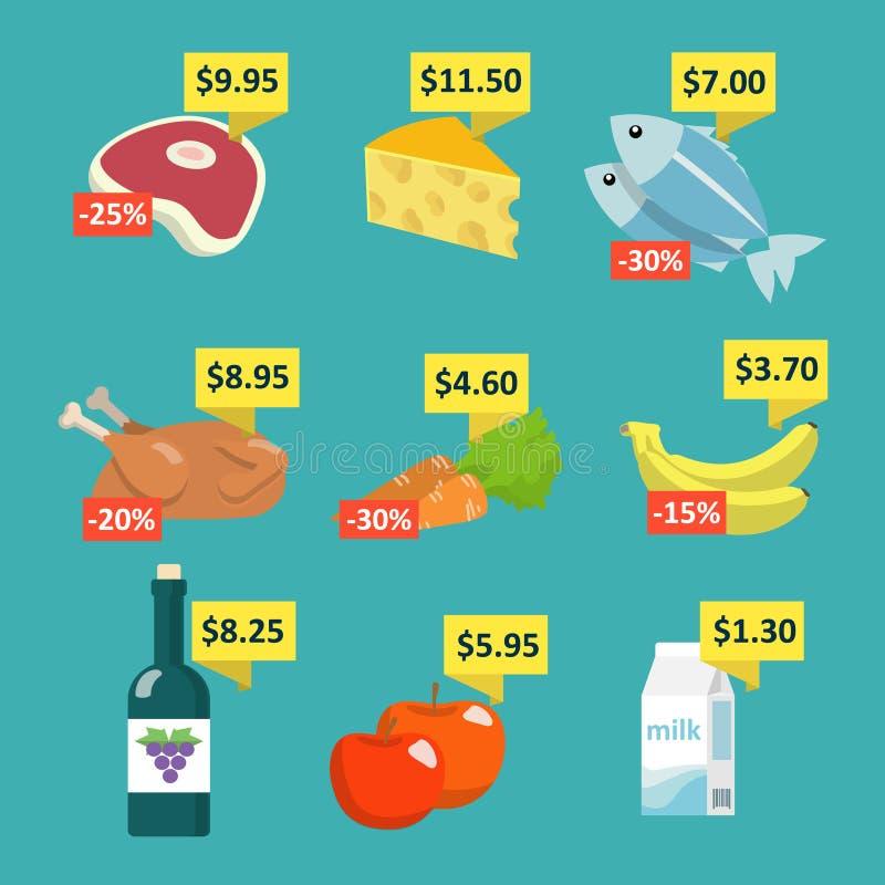 Supermarketmat med prislappar vektor illustrationer