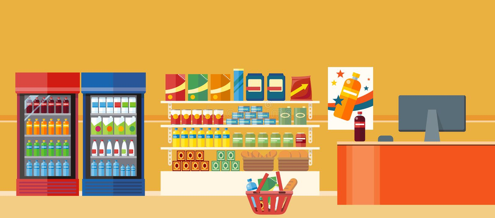 Supermarkets and Grocery Stores. Retail shop for buy product on shelf, purchase and department food, sale and cart with variety food, interior hypermarket vector illustration