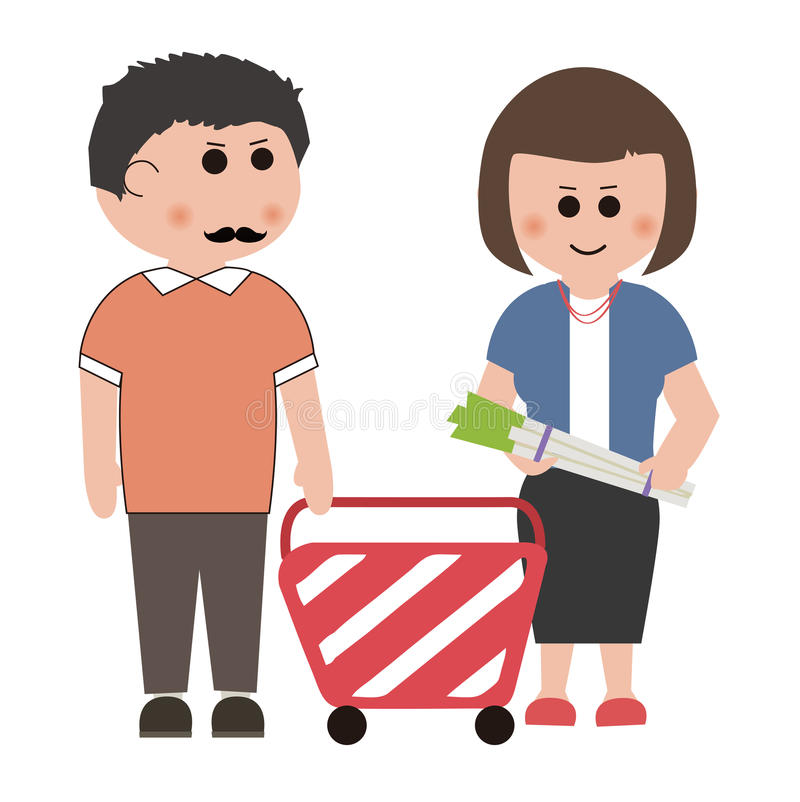 Supermarkets, shopping. About shopping, design material stock illustration