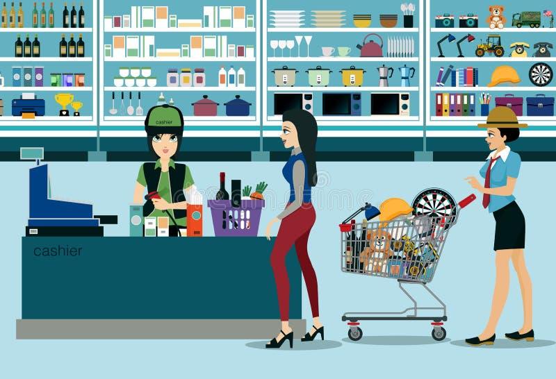 Supermarkets. Women spend money shopping in the supermarket royalty free illustration