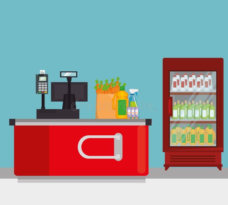 Supermarketshelvings med registermaskinen stock illustrationer