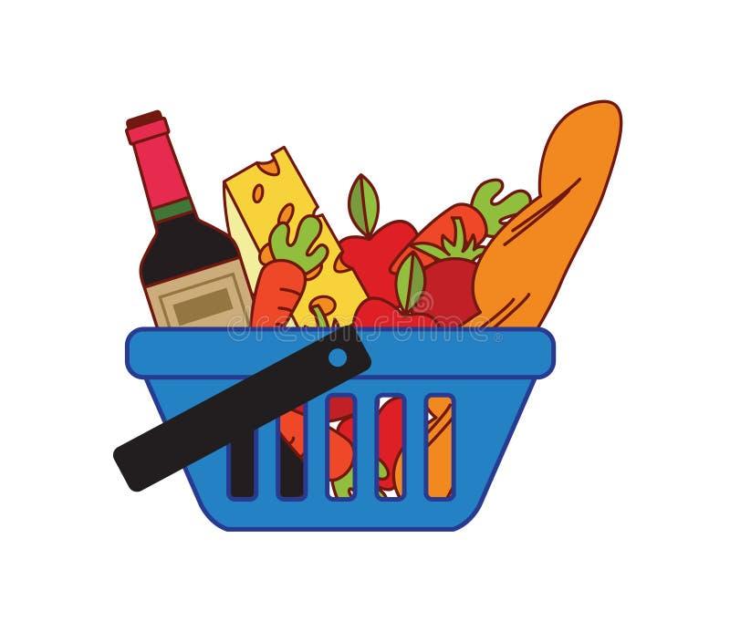 Supermarketshoppingkorg stock illustrationer