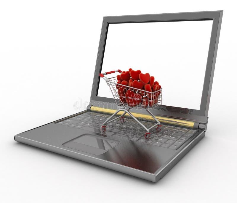 Supermarketspårvagn mycket av röda hjärtor på bärbara datorn stock illustrationer