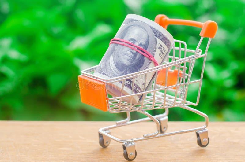 Supermarketspårvagn på en grön bakgrund Begreppet av att shoppa direktanslutet Ställemarknad, kommers, internetkommers beställa royaltyfri bild