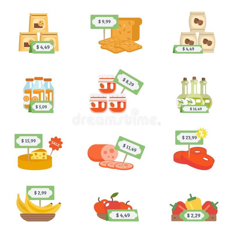 Supermarketsymbolsuppsättning royaltyfri illustrationer