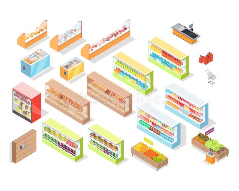 Supermarkt-Abteilungs-Innenraum-gesetzte Shop-Ikonen lizenzfreie abbildung