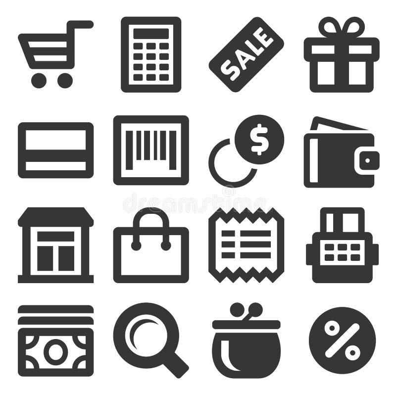 Supermarkt-Einkaufsikonen eingestellt auf weißen Hintergrund Vektor lizenzfreie abbildung