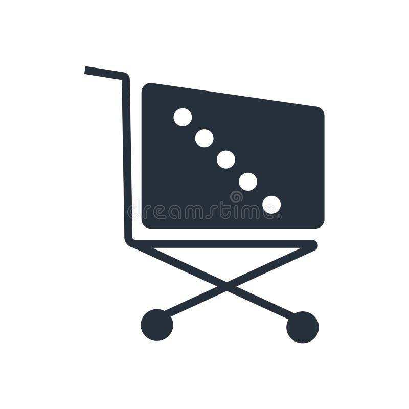 Supermarkt-Einkaufswagenikonenvektorzeichen und -symbol lokalisiert auf weißem Hintergrund, Supermarkt-Einkaufswagenlogokonzept lizenzfreie abbildung