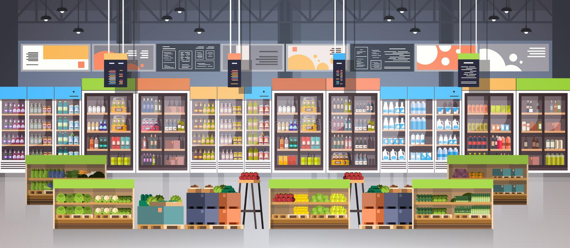 Supermarkt-Gang mit Regal-, Lebensmittelgeschäft-Einzelteil-, Einkaufs-, Einzelhandels-und Verbraucherschutzbewegungs-Konzept vektor abbildung