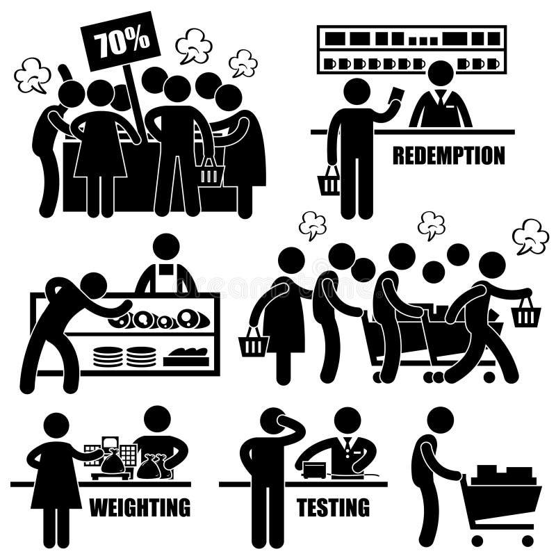 Supermarkt-verrückte Einkaufspiktogramme lizenzfreie abbildung