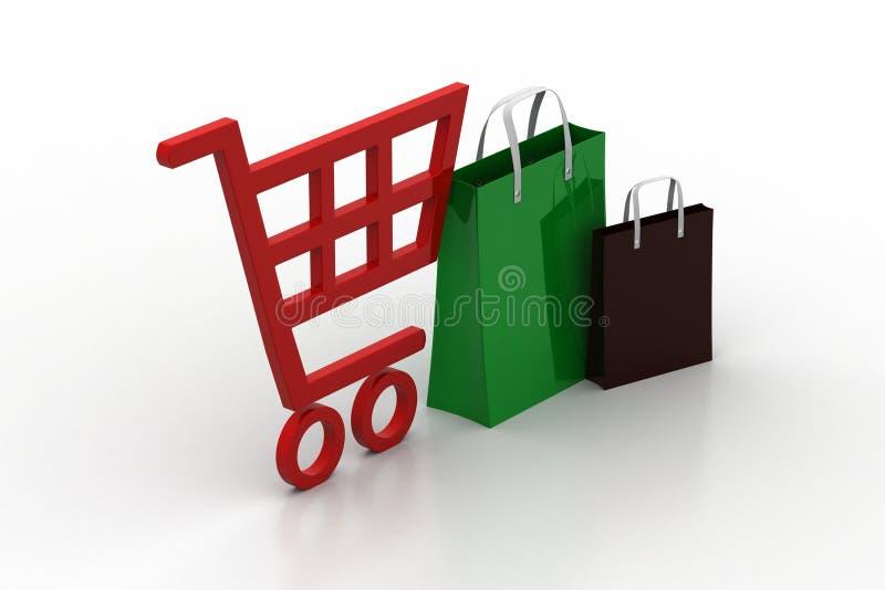 Supermarkt volledige het winkelen karretjekar royalty-vrije illustratie