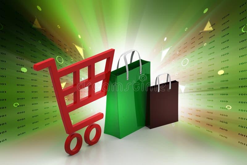 Supermarkt volledige het winkelen karretjekar stock illustratie