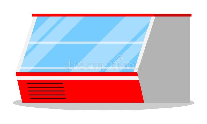 Supermarkt of winkelpictogram van de showcase het horizontale lege ijskast vector illustratie