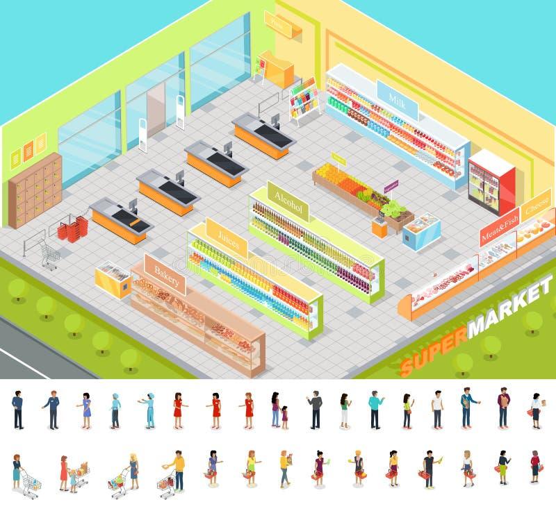 Supermarktbinnenland in Isometrische Projectie 3d vector illustratie