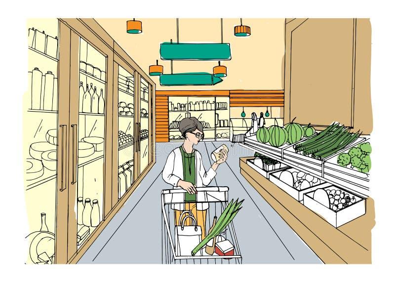 Supermarktbinnenland met klantenmeisje Kruidenierswinkelopslag, hand getrokken kleurrijke illustratie royalty-vrije illustratie