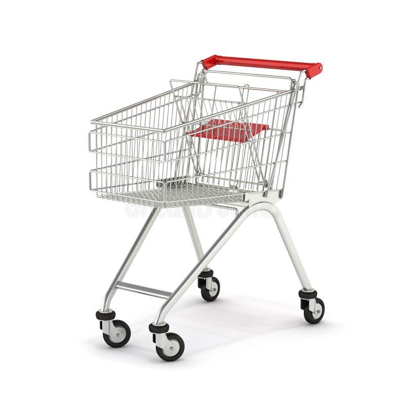 Supermarktboodschappenwagentje op witte 3d die achtergrond wordt geïsoleerd vector illustratie