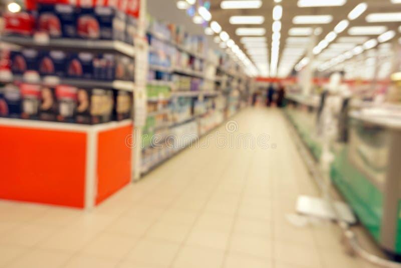 Supermarktconcept het winkelen het defocusing royalty-vrije stock foto