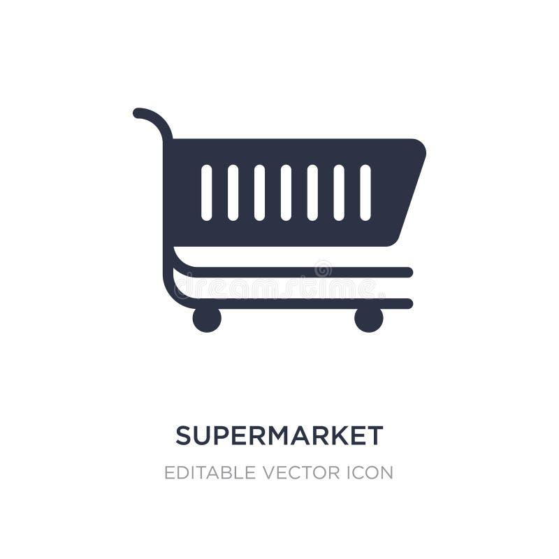 Supermarkteinkaufswagenikone auf weißem Hintergrund Einfache Elementillustration vom Handelskonzept vektor abbildung