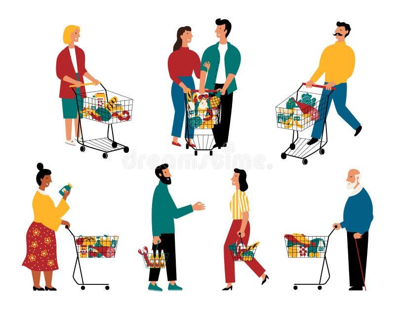 Supermarktklanten, beeldverhaalkarakters Mannen en vrouwen met boodschappenwagentjes bij kruidenierswinkelopslag Vector vlakke il royalty-vrije illustratie