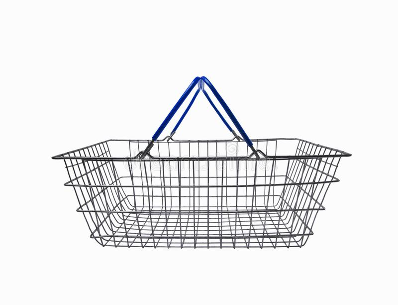 Supermarktmand op wit wordt geïsoleerd dat royalty-vrije illustratie